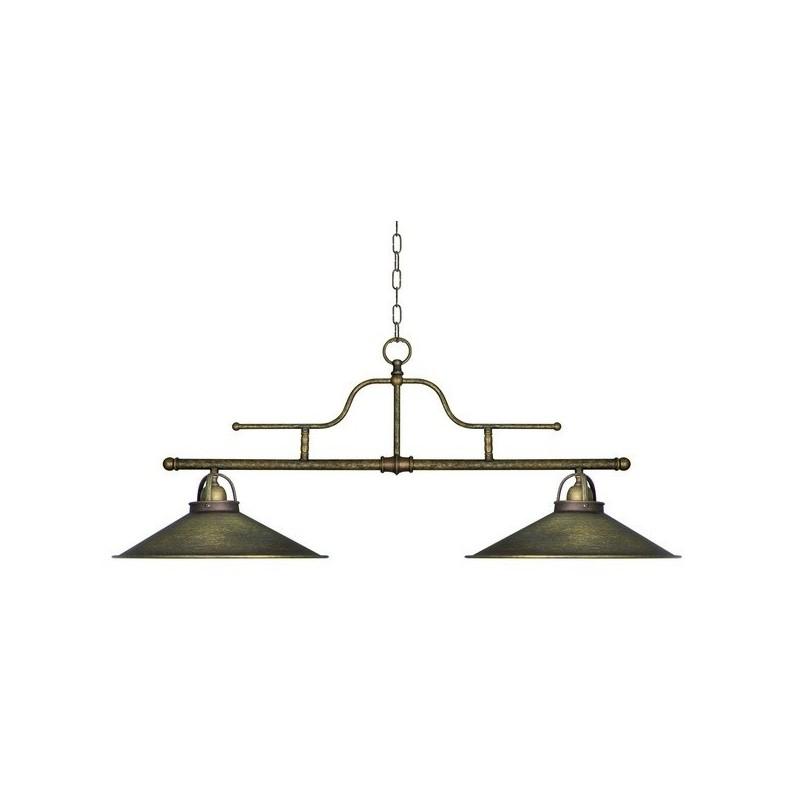 Lampadario a sospensione 2 luci in ottone anticato stile for Lampadari vintage