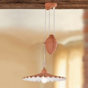 Chandelier ups and downs pleated terracotta with a counterweight rustic country - Ø 43 cm