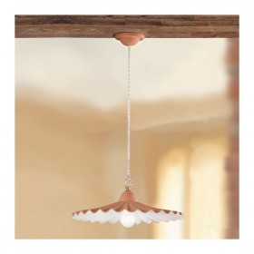 The chandelier in the terracotta dish pleated rustic country - Ø 43 cm
