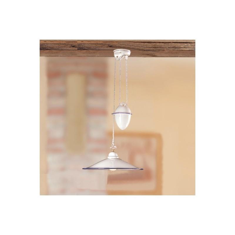 Kronleuchter auf und ab in keramik mit gegengewicht und teller glatt vintage-stil - Ø 43 cm