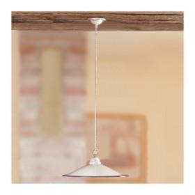 Lampadario in ceramica piatto liscio stile vintage rustico country - Ø 43 cm