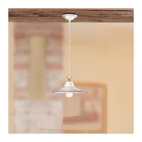 Lampadario in ceramica piatto liscio stile vintage rustico country - Ø 28 cm