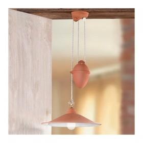 Lampadario saliscendi in terracotta con piatto liscio e contrappeso rustico country - Ø 43 cm