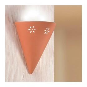 Apliques de pared de la lámpara en baldosas de terracota y perforada con la luz de frente, país-vintage – h. 25 cm