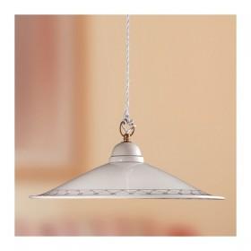 Lampadario in ceramica piatto liscio bordi decorati rustico country - Ø 43 cm