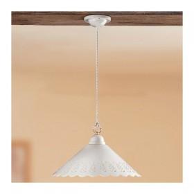 Lampadario in ceramica piatto liscio traforato rustico country - Ø 40 cm