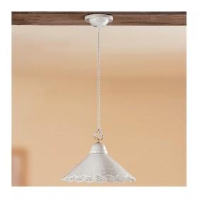 Lampadario in ceramica piatto liscio traforato rustico country - Ø 30 cm