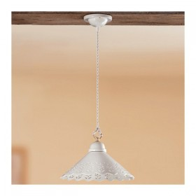 Le lustre de la plaque en céramique, lisse perforé rustique pays - Ø 30 cm