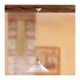 Lampadario in ceramica piatto liscio bordo traforato e decorato - Ø 30 cm