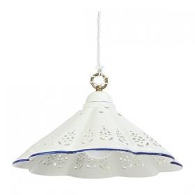 Lampadario in ceramica piatto plissettato bordo traforato country vintage - Ø 39 cm