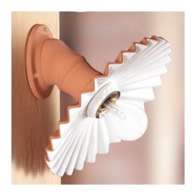 Applique lampada da parete in cotto rustica country retrò - Ø 28 cm
