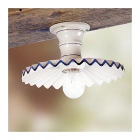 Ceiling lamp in ceramic, pleated, rustic country retro - Ø 28 cm