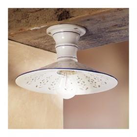 Lampada da soffitto in ceramica traforata rustica country retrò - Ø 28 cm