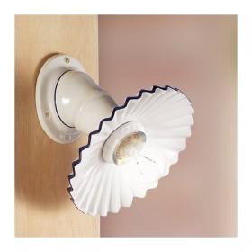 Apliques de pared, lámpara de cerámica, plisado, rústico, país retro - Ø 21 cm
