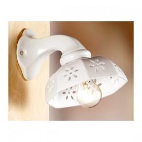 Applique lampada da parete in ceramica traforata rustica country retrò - Ø 20 cm