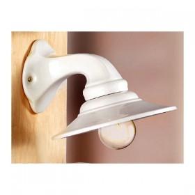 Applique lampada da parete in ceramica piatto liscio rustica country retrò - Ø 21 cm