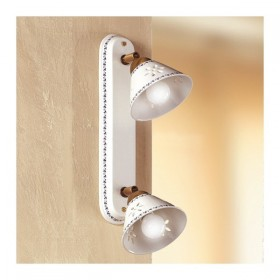 Apliques de pared de la lámpara con dos luces en cerámica perforada y decorado con un aire rústico país - Ø 14 cm