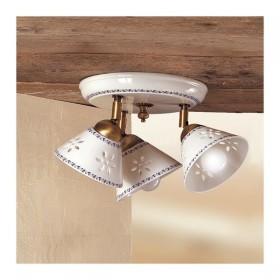 Plafoniera lampada da soffitto a tre luci traforata e decorata rustica country -  Ø 23 cm