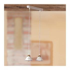 Lampada a soffitto a 2 luci in ceramica con piatto traforato e decorato country - Ø 36 cm
