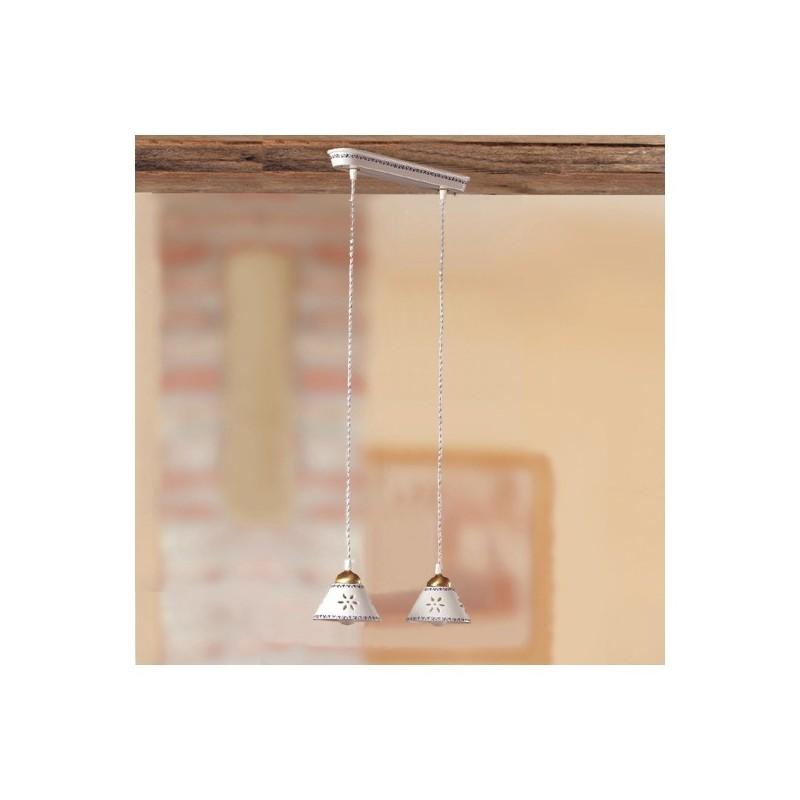 Lampe, deckenleuchte mit 2 lichtern aus keramik mit teller mit durchbrochener stickerei verziert country - Ø 36 cm