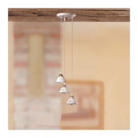 Plafonnier 3 lumières dans un plat en céramique percé et décoré, pays - Ø 23 cm