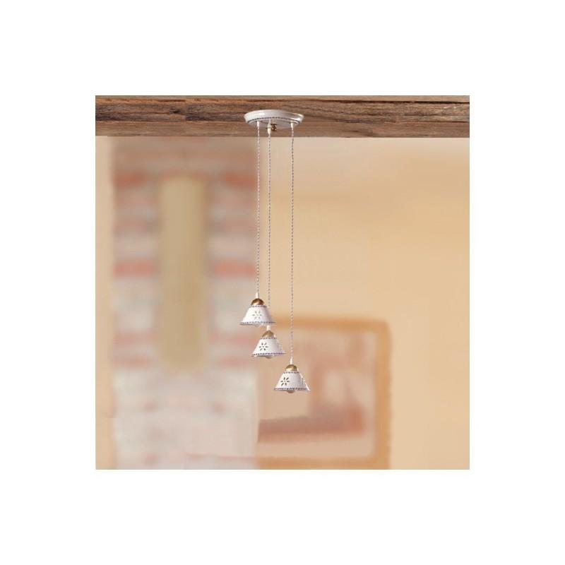 Lampe deckenleuchte mit 3 leuchten aus keramik mit teller mit durchbrochener stickerei verziert country - Ø 23 cm