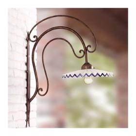 Applique lampada da parete in ferro battuto con piatto in ceramica plissettato rustico country - Ø 28 cm