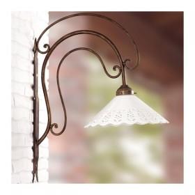 Apliques de pared de la lámpara de hierro forjado con placa de cerámica-a través de campo rústica - Ø 30 cm