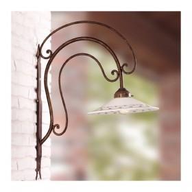 Applique lampada da parete in ferro battuto con piatto in ceramica decorato rustico country - Ø 28 cm