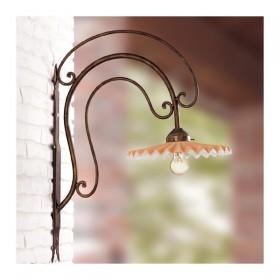 Applique lampada da parete in ferro battuto con piatto in cotto plissettato decorato rustico country - Ø 28 cm