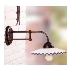Applique lampada da parete in ferro battuto con piatto in ceramica plissettato decorato rustico country - Ø 21 cm