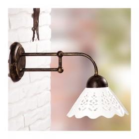 Applique lampada da parete in ferro battuto con piatto in ceramica traforato rustico country - Ø 18 cm