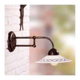 Applique lampe murale en fer forgé avec plaque en céramique décorées dans le charme rustique de pays - Ø 21 cm