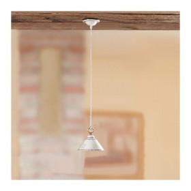 Lampadario in ceramica piatto liscio bordo traforato e decorato – Ø 18 cm