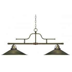 Lampadario a sospensione 2 luci in ottone anticato stile rustico vintage retro