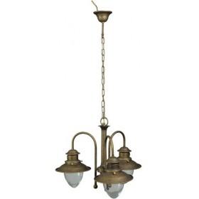 Lustre vintage de campagne de style rustique 3 lumières en laiton