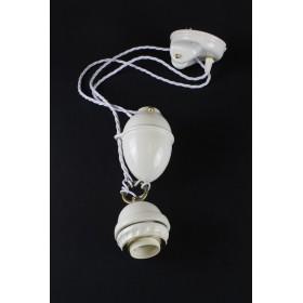 Kit contrappeso liscio in ceramica + carrucola + portalampada a ragno + cavo