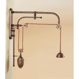 Lampada da muro parete con saliscendi contrappeso in ottone rustico vintage stile retro