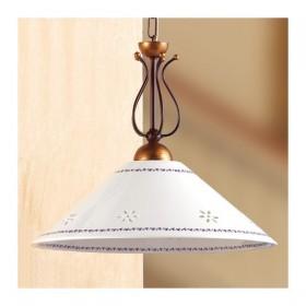 Lampe à Suspension en fer forgé avec une plaque de céramique percé décorées pays - Ø 40 cm