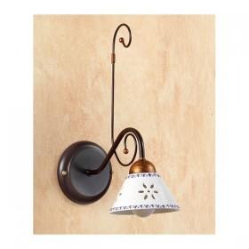 Wandleuchte wand-lampe schmiedeeisen mit keramik-platte mit durchbrochener stickerei verziert country – Ø 14 cm