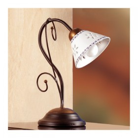 Tischlampe aus schmiedeeisen in 1-licht-mit-keramik-platte mit durchbrochener stickerei verziert country – Ø 14 cm