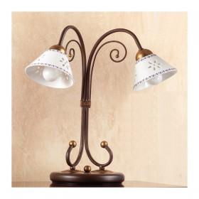 Lampada da tavolo in ferro battuto a 2 luci con piatto in ceramica traforato decorato country – Ø 14 cm