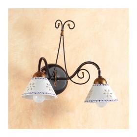 Applique lampe murale en fer forgé 2 lumières avec le plat perforé et décorées pays – Ø 14 cm