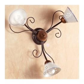 Applique lampada da parete a 3 luci traforata e decorata in ferro battuto stile country vintage  – Ø 60 cm