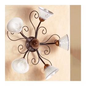 Applique lampada da parete a 5 luci traforata e decorata in ferro battuto stile vintage e country – Ø 60 cm