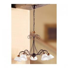 Lampe à Suspension en fer forgé 5 de la lumière en céramique ajourée, décorée avec un millésime pays – Ø 60 cm