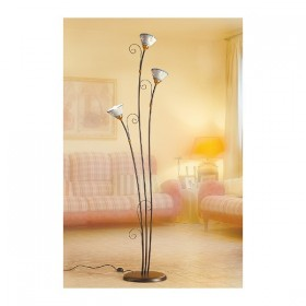 Floor lamp 3 lights in wrought iron with dishes, pierced and decorated with vintage-style rustic - h 183 cm