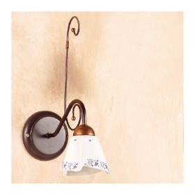 Applique lampada da parete in ferro battuto con piatto in ceramica decorato rustico country – Ø 14 cm