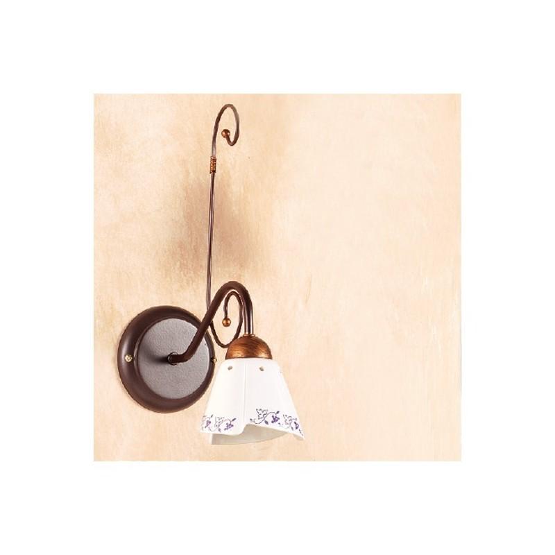Apliques de pared de la lámpara de hierro forjado con placa de cerámica decoradas en rústico país – Ø 14 cm