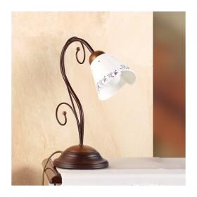 Lampada da tavolo in ferro battuto a 1 luce con piatto in ceramica decorato rustico country – Ø 14 cm